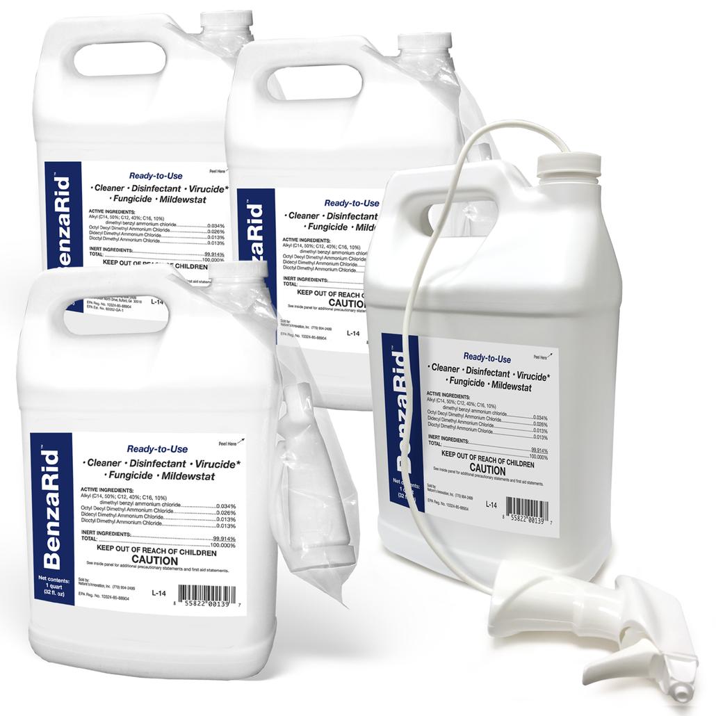 BenzaRid Hospital Grade Cleaner - Disinfectant, Virucide, Fungicide - (4) 1 Gallon