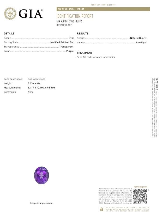 GIA Identification report example for Angara gemstone