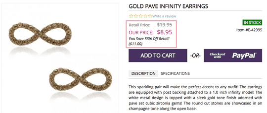 gold pave infinity earrings