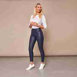 Wet Look PU Leggings (Navy)