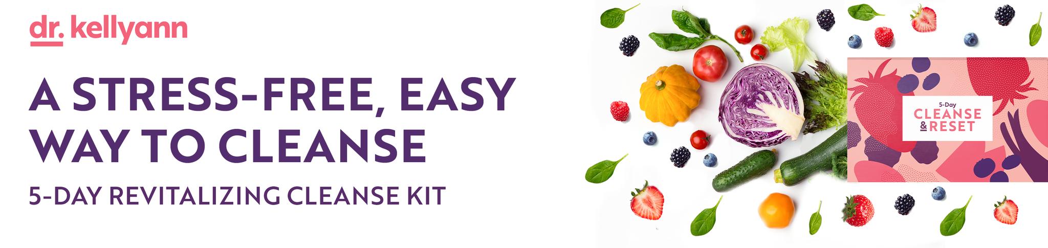 Boîte de nettoyage et de réinitialisation du Dr Kellyann avec des fruits et des légumes