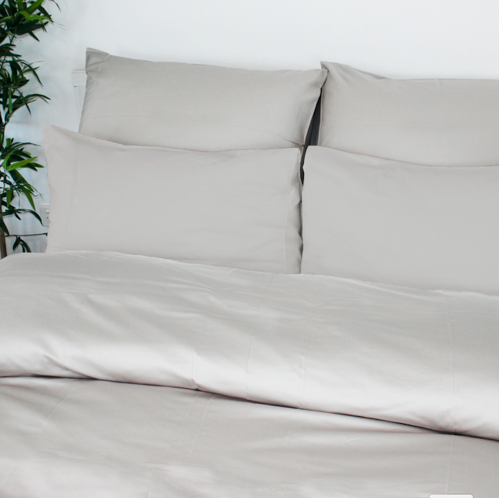Grey Sateen Bed Set with No Trim