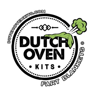 Dutch oven kits logo. Dutch oven kits inside a circle with a farting blanket