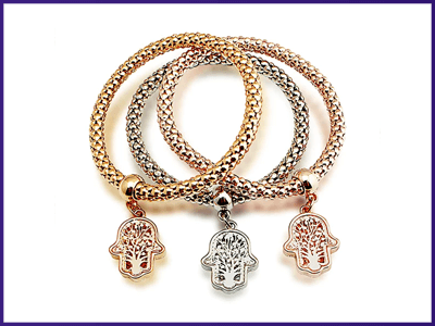 Solid Hearts Charm Bracelet Set