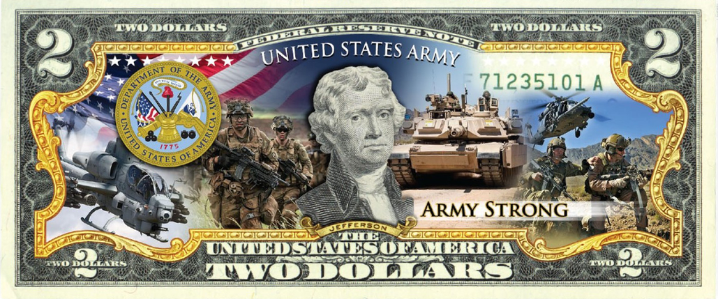 'U.S Army' - Genuine Legal Tender U.S. $2 Bill