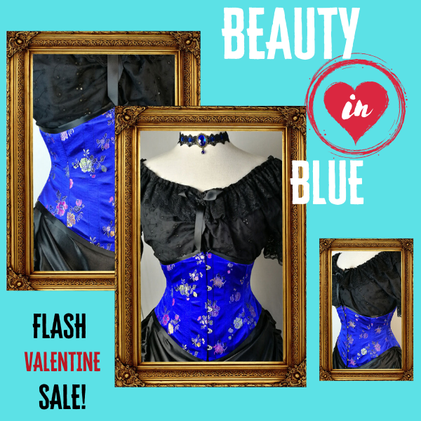 flash sale announcement on a blue oriental brocade under bust corset made to measure in Australia