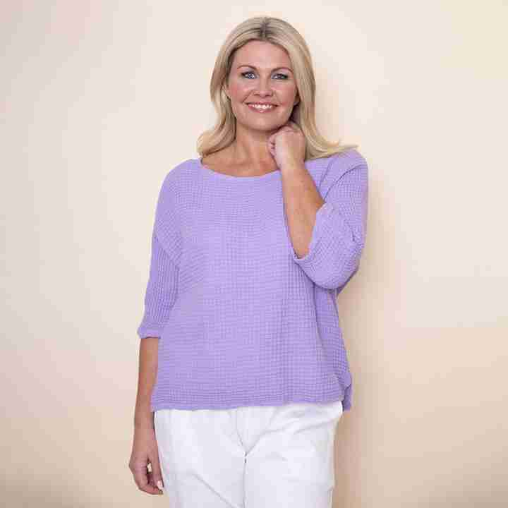 Honeycomb Scoop End Top(Lilac)