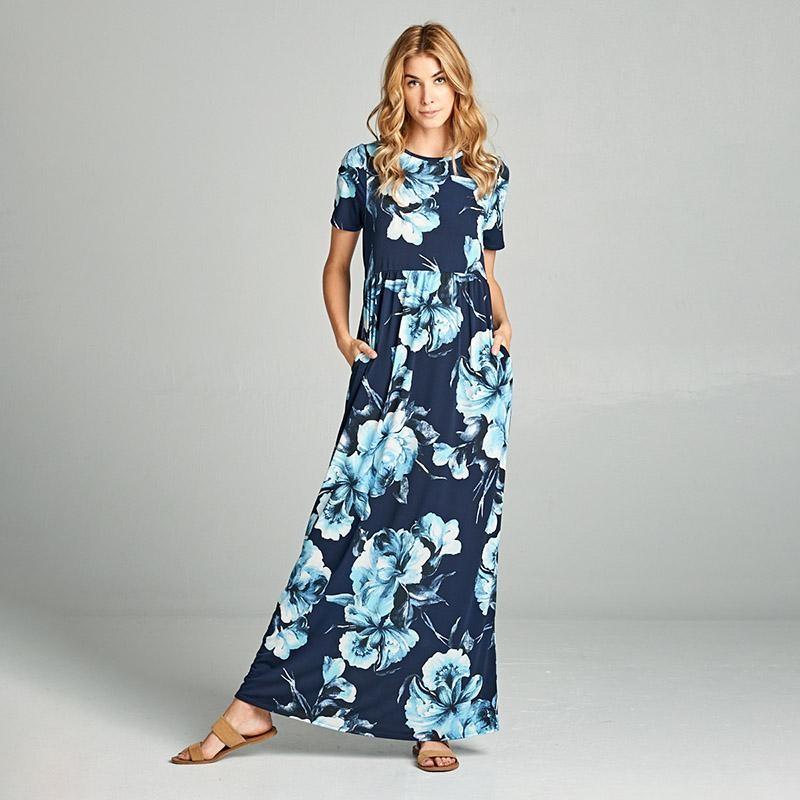 Maisy Cap Sleeve Maxi Blue