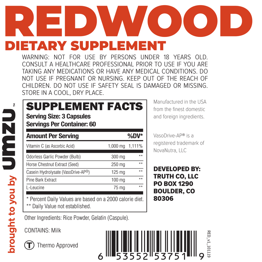 UMZU Redwood supplements facts
