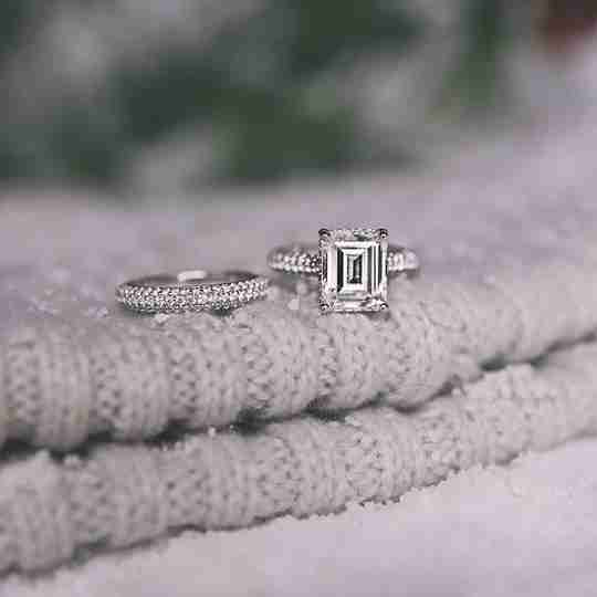 A diamond wedding and engagement ring set from James Allen