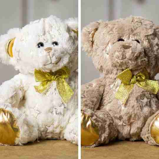 Two star print bears, white and beige.