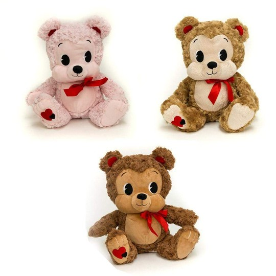 Three Valentine Bears with big eyes, and in three colors: pink, brown and beige.