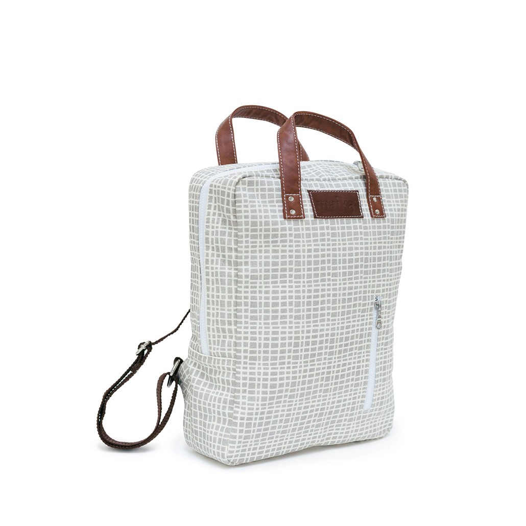 MAIKA woven grey canvas backpack