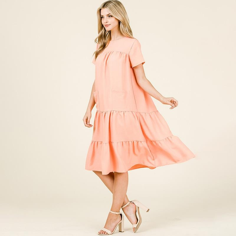 Tina Tiered Midi Dress Salmon