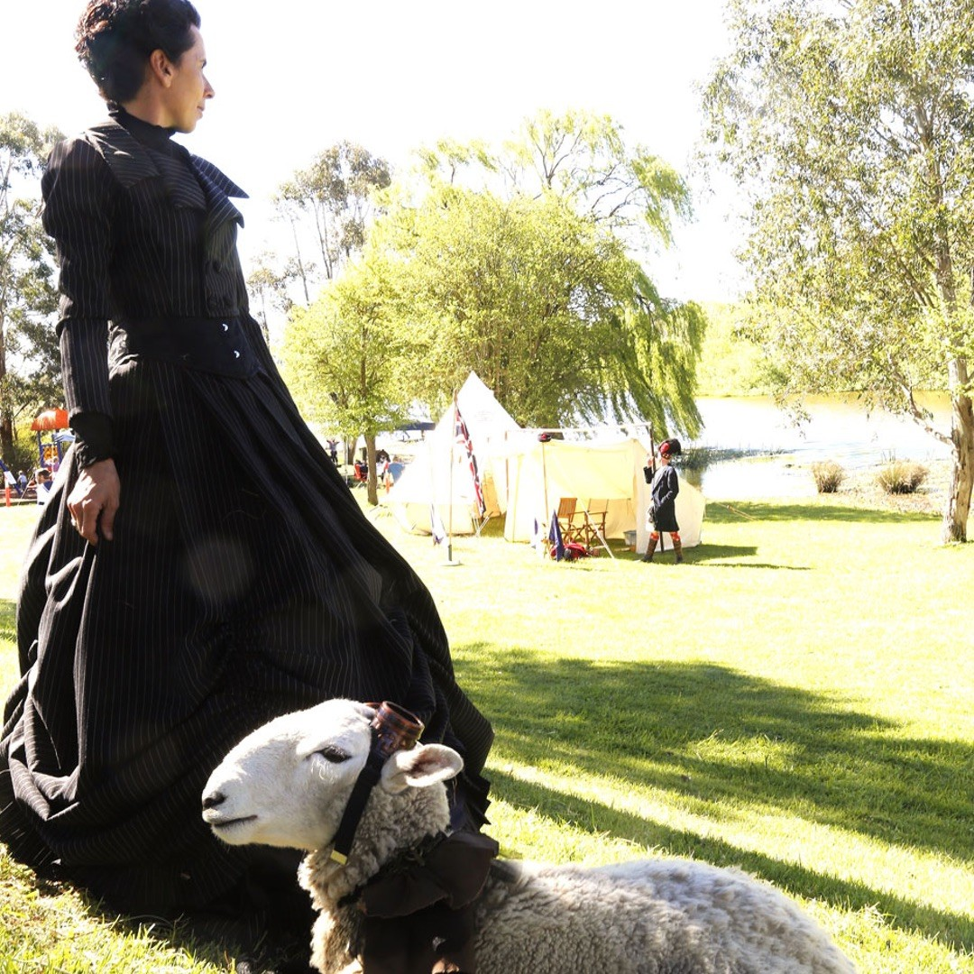 Tas O'Brien and Pete the steampunk sheep at Goulburn Steampunk and Victoriana Fair