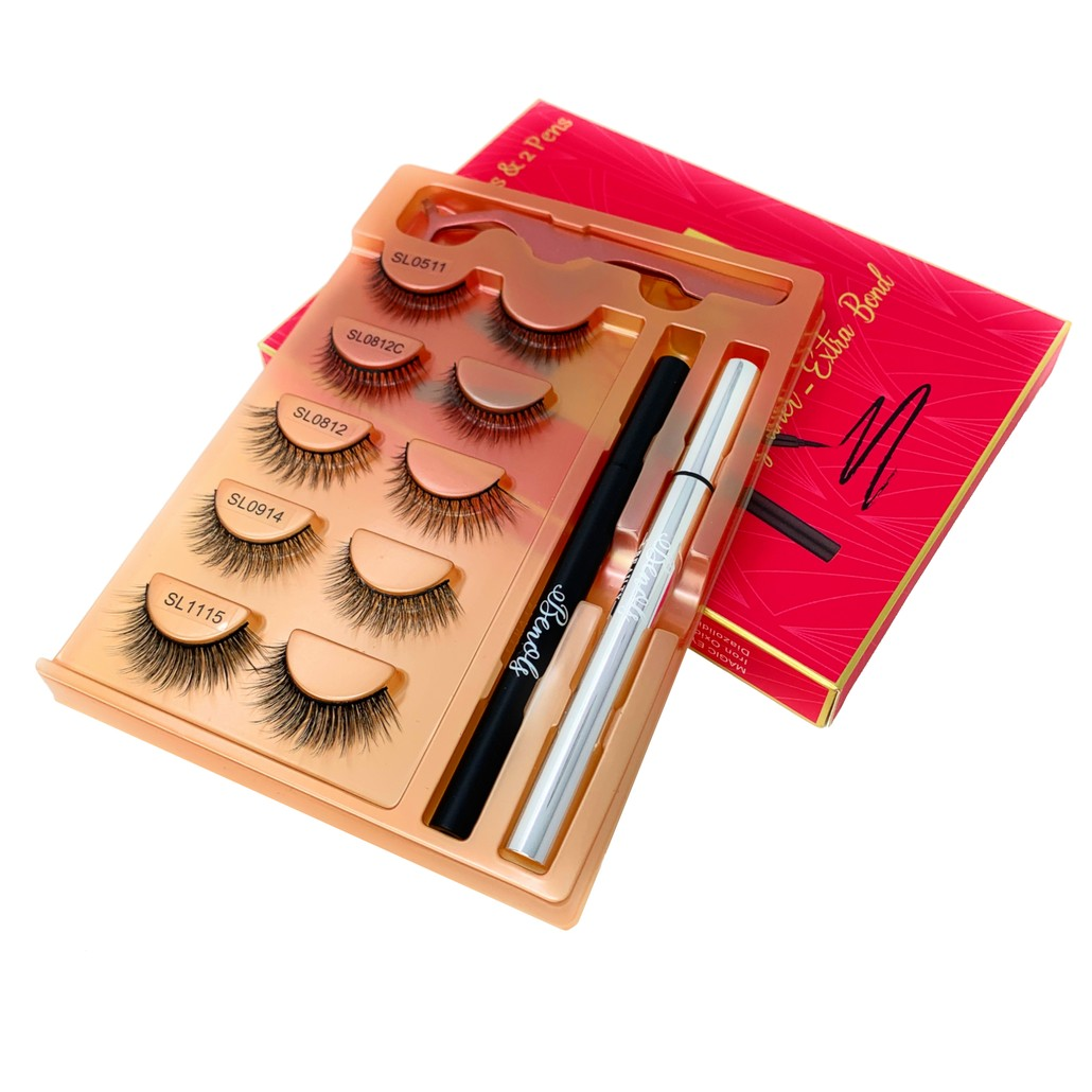 Cool Chick Collection - 2 Magic Eyeliner with 5 Pair 3D Natural to Dramatic Eyelashes