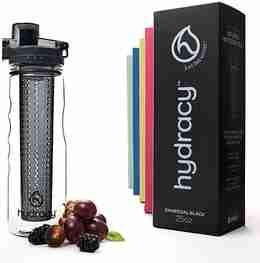 Infuser Water Bottle 25oz - Charcoal Black - Bottle & Box