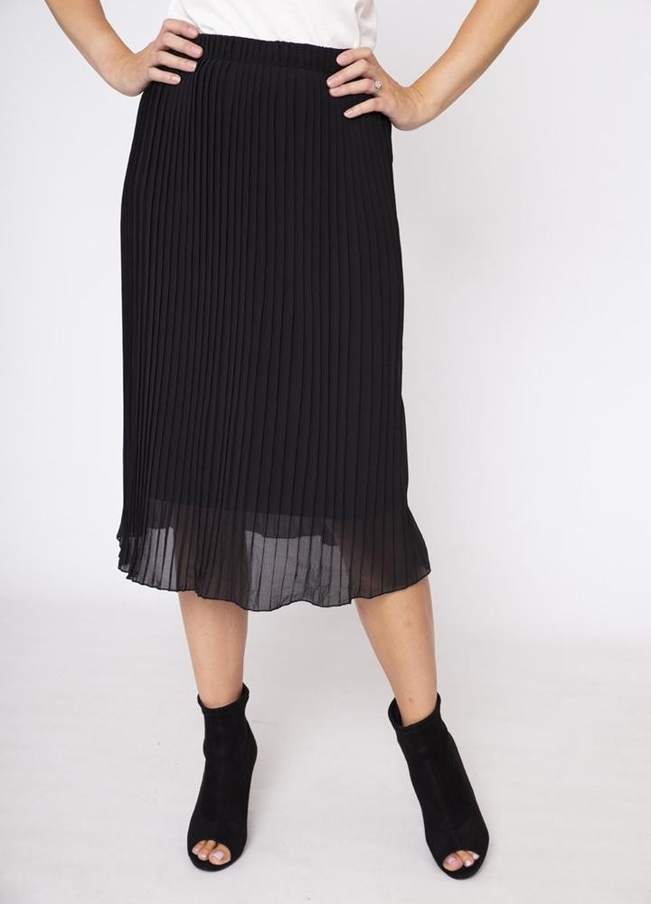 Long Pleat Skirt in Black