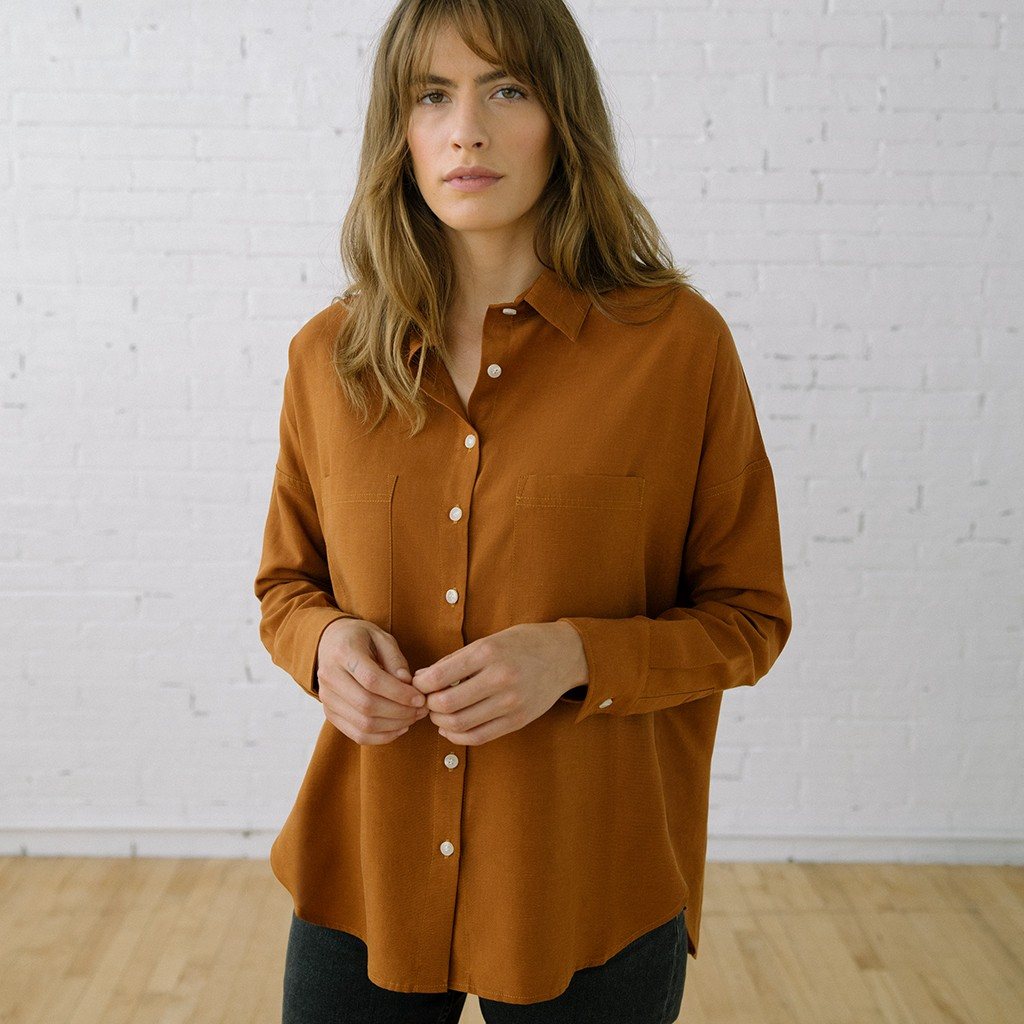 Box Top Long Sleeve Clay