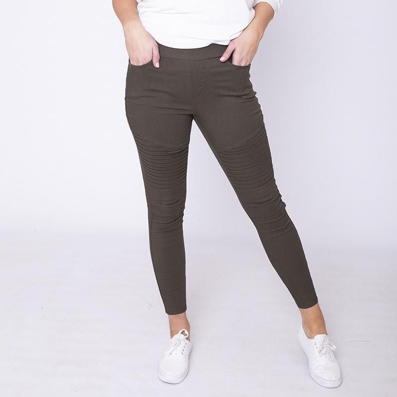 Moto Pleated Jeggings Khaki