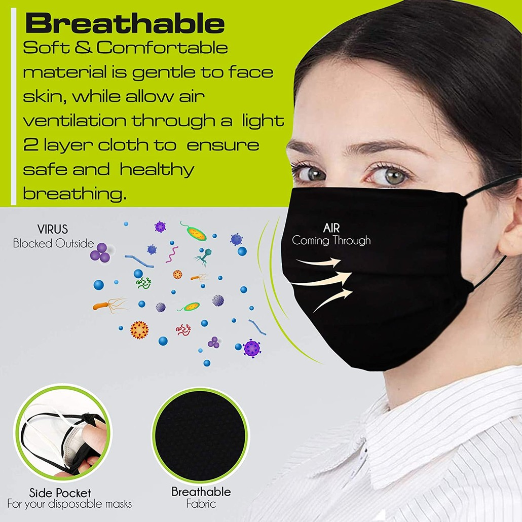<free with purchase> SENTEQ Adult Reusable Face Mask - Breathable Cloth Fabric - PACK of [3] FDA Registered