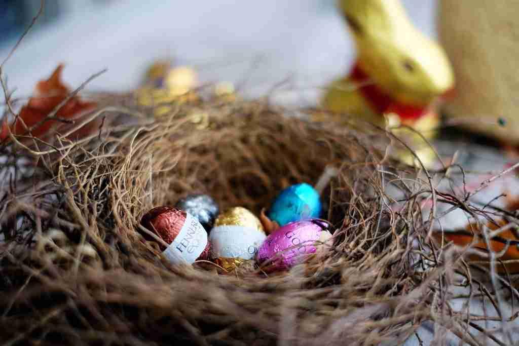 Easter Egg Hunt in the garden - Easter Eggs in a birds nest