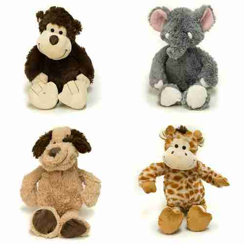 A four pack of animals: monkey, dog, elephant and giraffe.