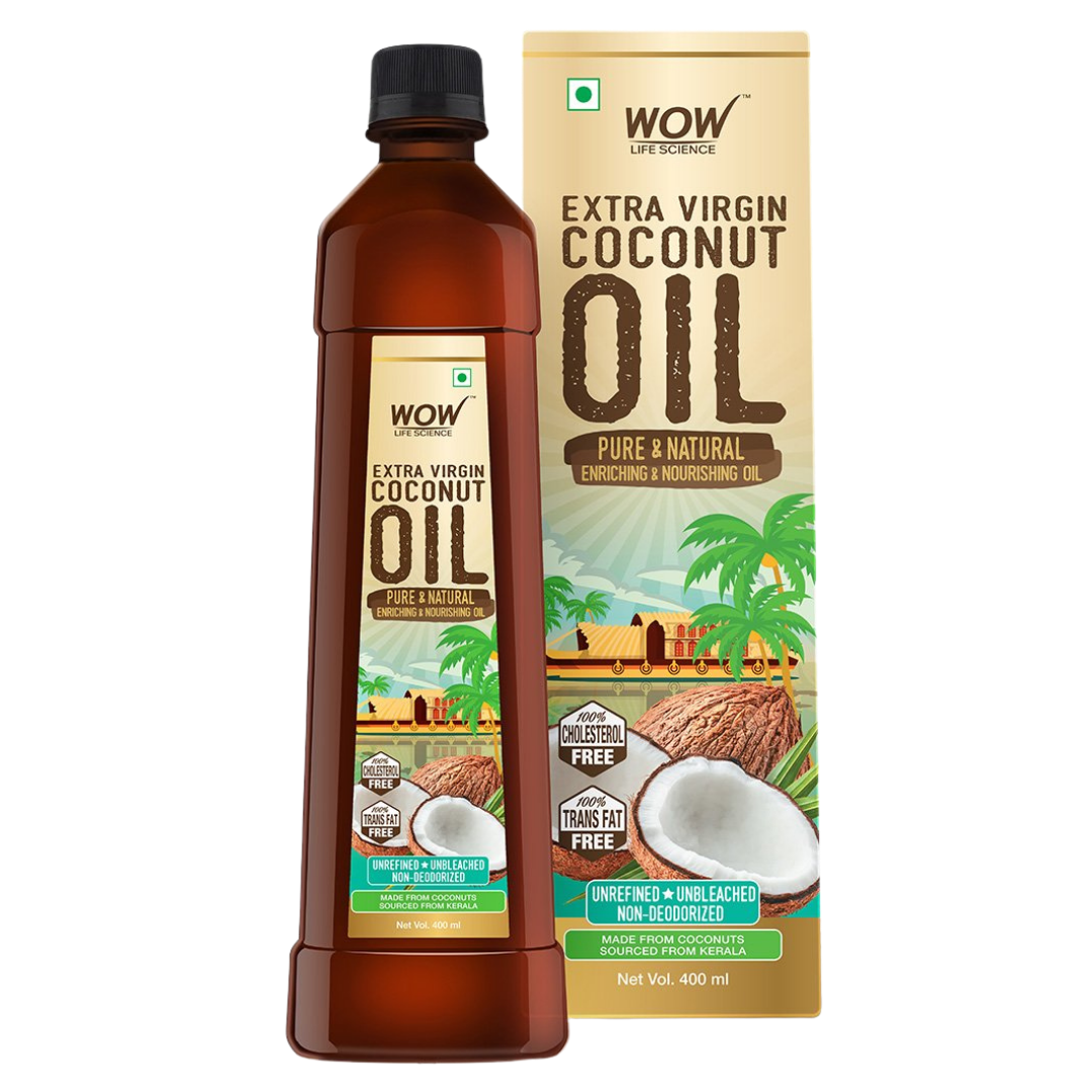 WOW Life Science Cold Pressed Extra Virgin Coconut Oil - Pure & Natural Enriching & Nourishing Oil Bottle - 400 ml