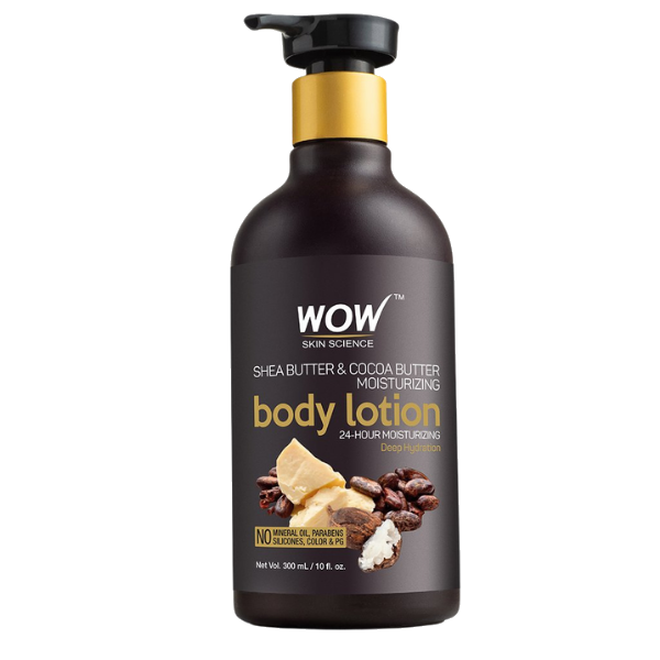 WOW Skin Science Shea Butter and Cocoa Butter Moisturizing Body Lotion, Deep Hydration - 300 ml