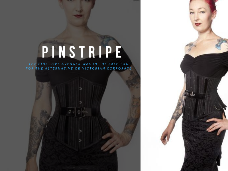 Victorian corporate style of steel boned under bust corset featuring a large silver central buckle, pinstripe fabric in black and white, made in Australia