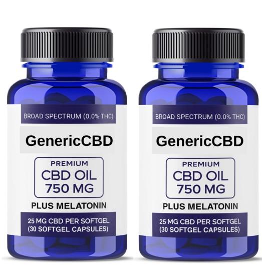 2 Bottles of Softgels (750MG of CBD Per Bottle) With Added Melatonin.