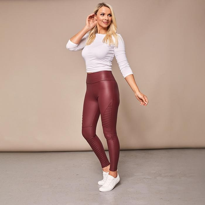 Wet Look Biker Leggings (Wine)€29.00
