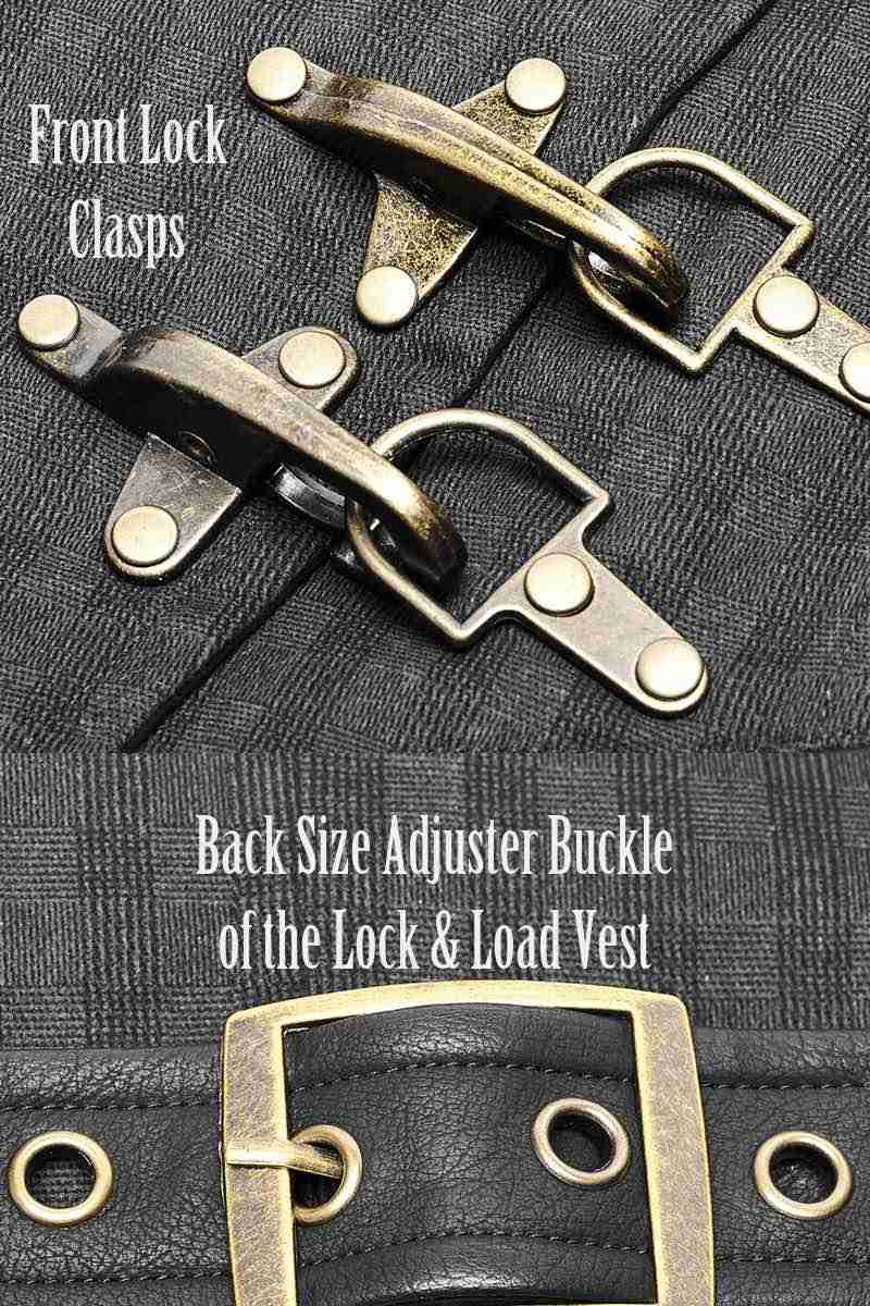 brass buckle detailing on the Lock & Load Vest