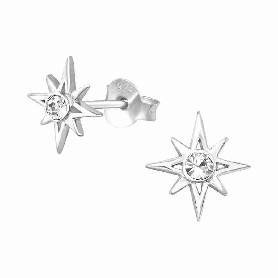 Sterling Silver Crystal Star Stud