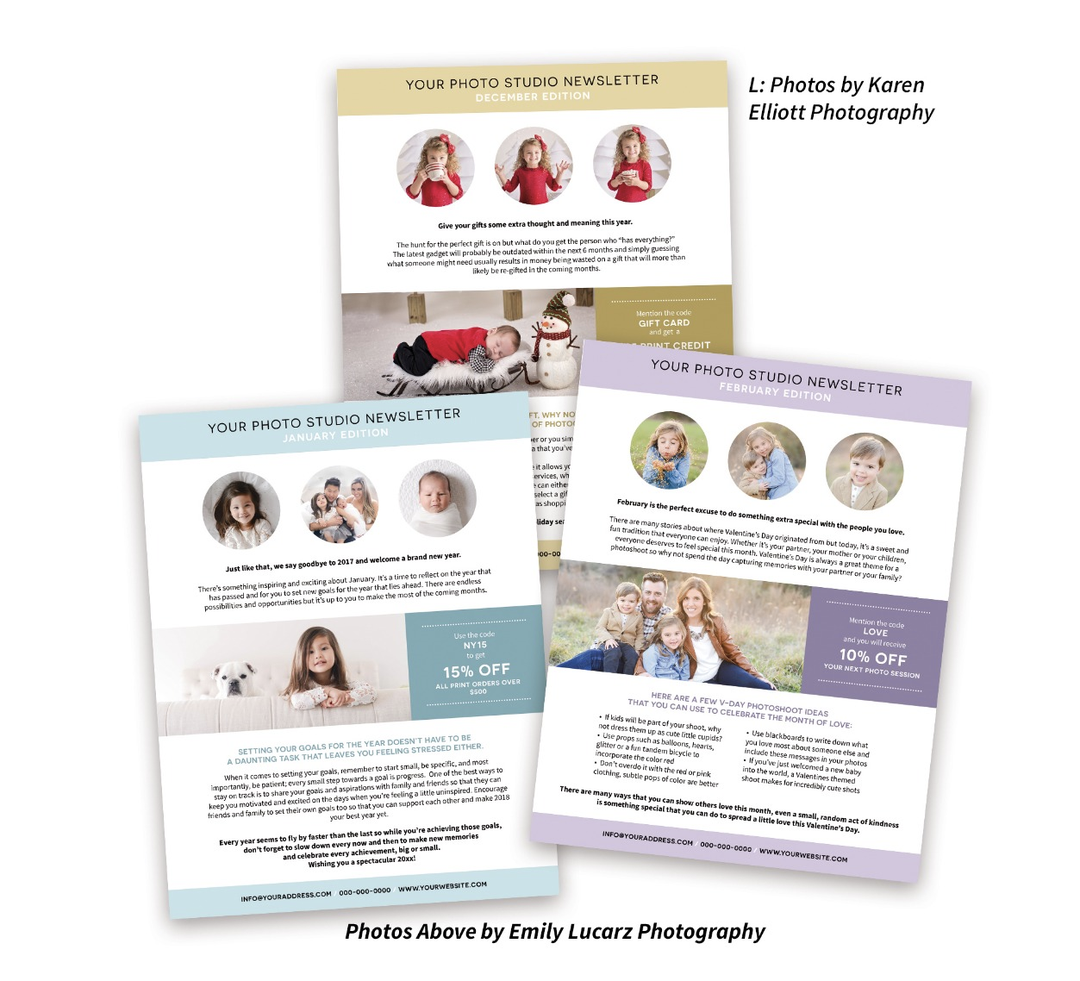 Pre-written e-mails newsletter bundle for photographers