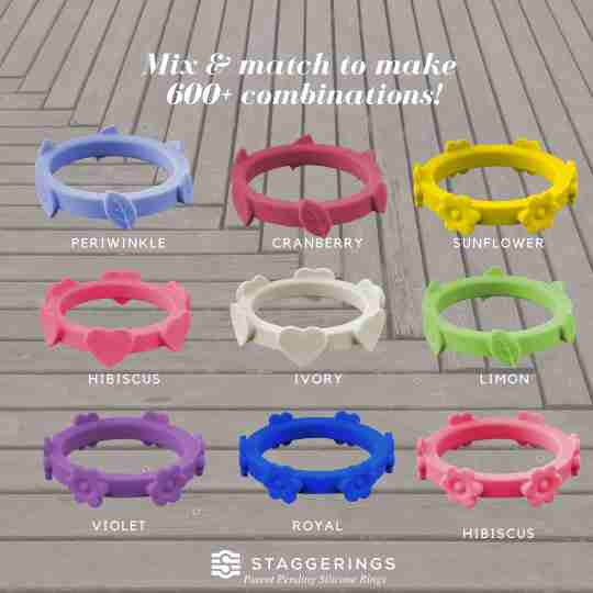 Nine single silicone rings to mix and match together.