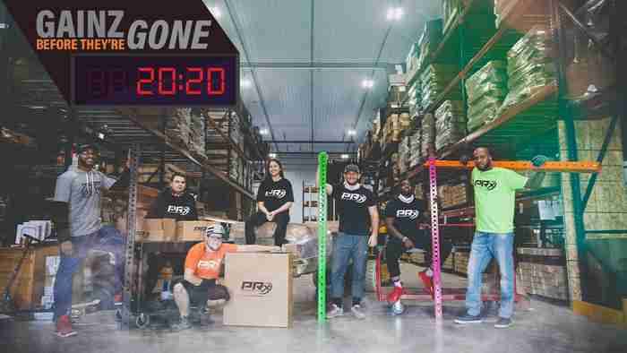 The PRx Crew has been training for this all year. PRx Crew sitting and standing in our warehouse with different equipment ready for Black Friday.