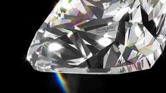 A closeup view of a Swarovski created diamond