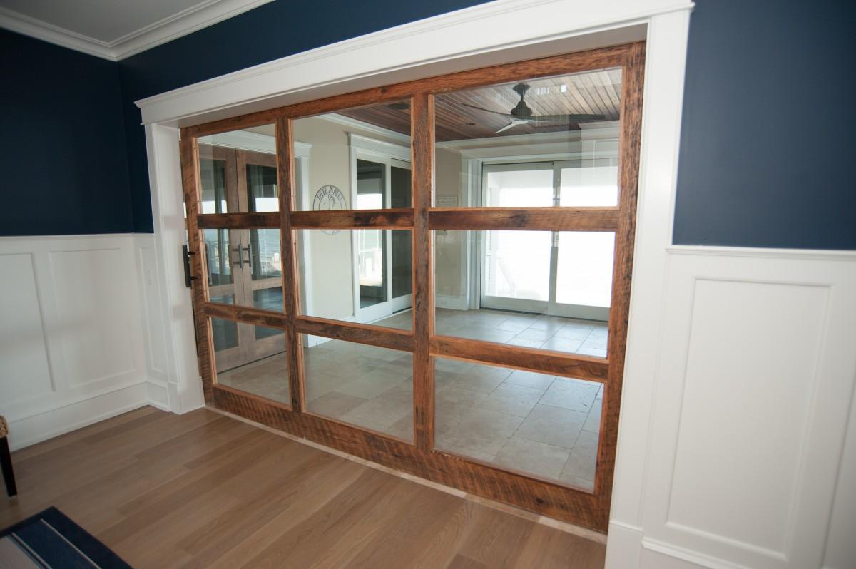 large glass paned barn door