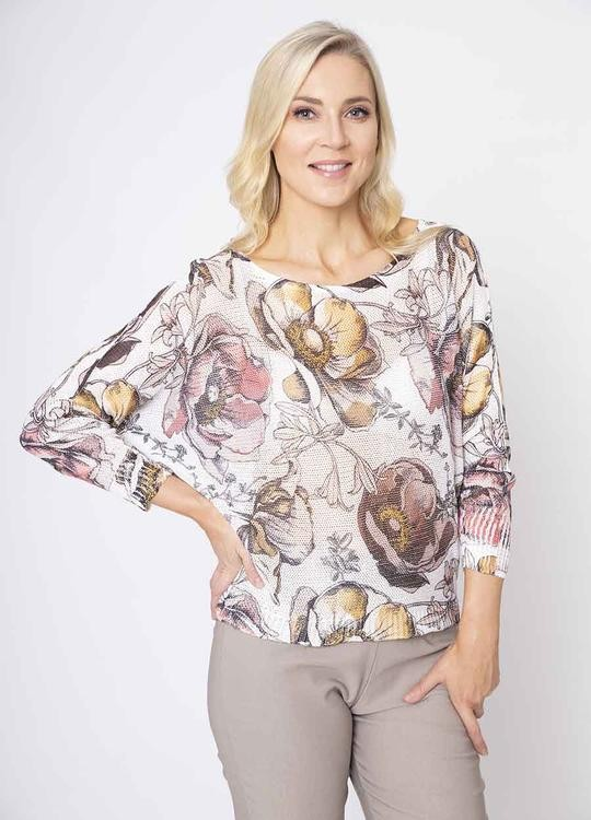 Lily Print Batwing Top in White