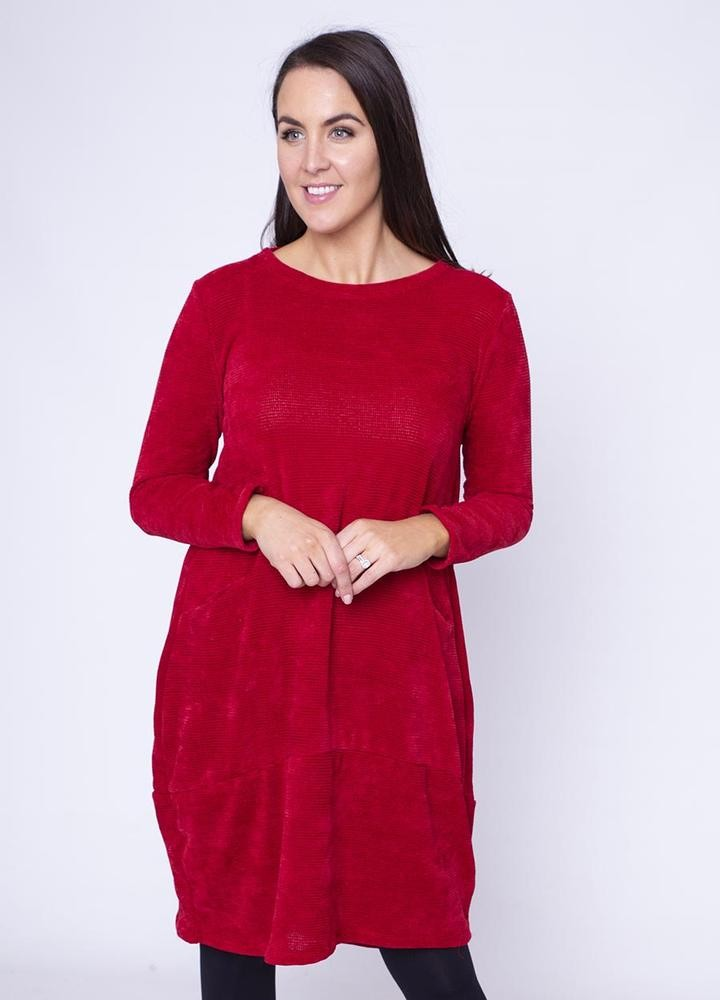Velour Pocket Dress in Red