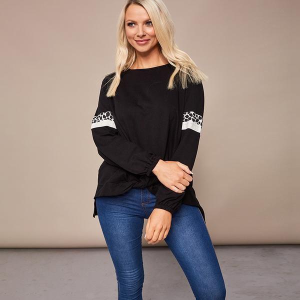 Joanne Leopard Knot Jumper Black