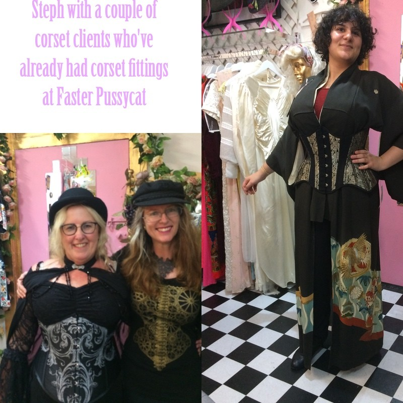 Satisfied corset clients with corset maker Steph during personalised fittings at vintage shoppe, Faster Pussycat