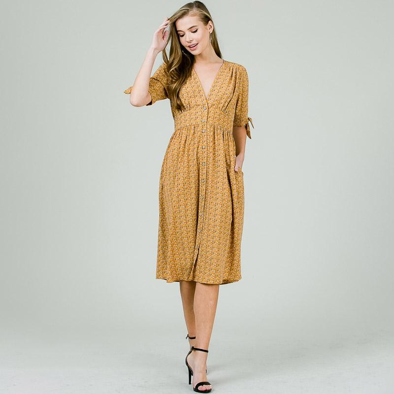Caroline V Neck Midi Dress Camel