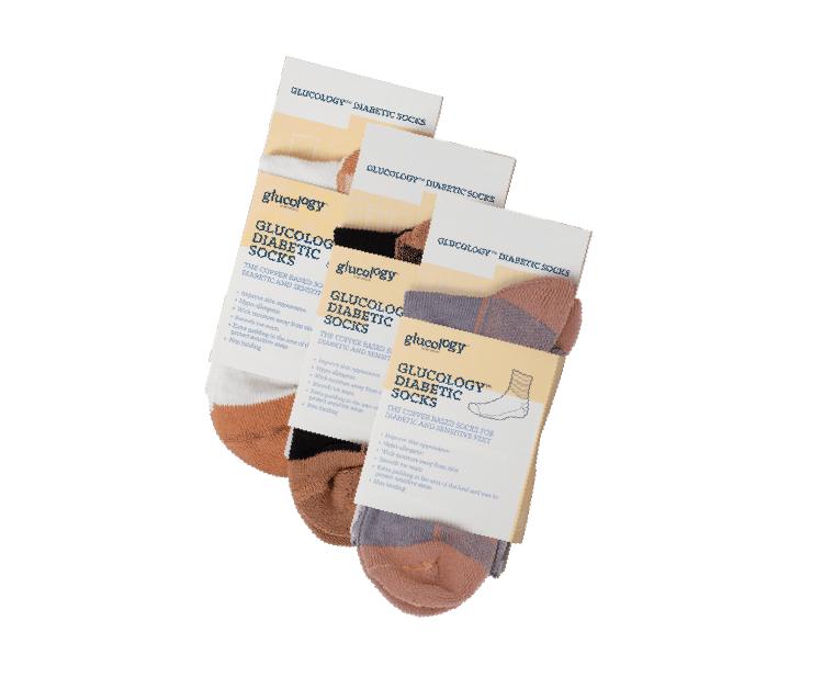 3x Pack Glucology™ Diabetes Copper Classic Socks l Unisex l White