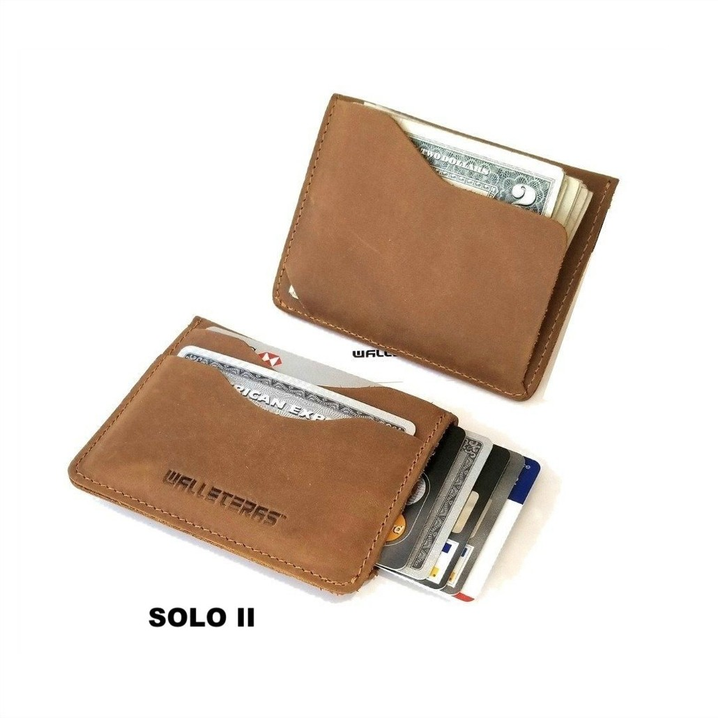 Minimalist Front Pocket Wallet in Crazy Horse Leather - Solo II