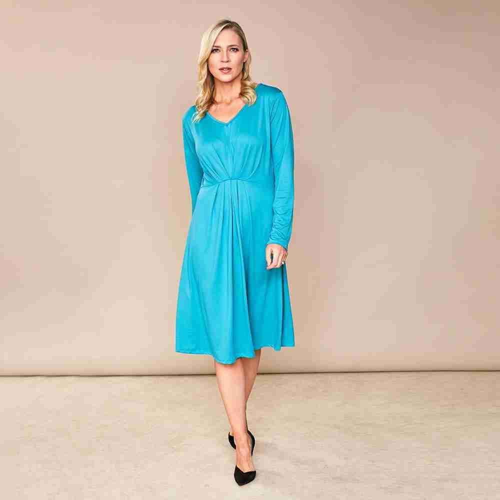 Karla V Neck Dress(Aqua Blue)