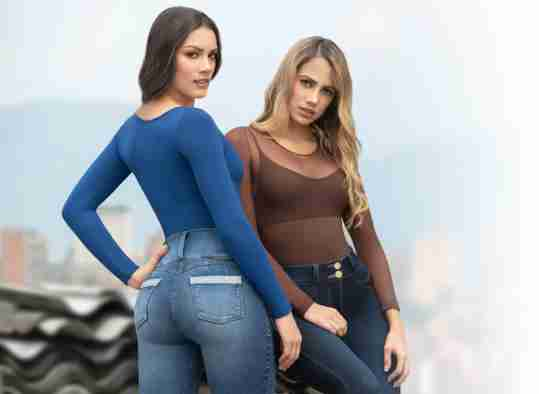 two women wearing colombian push up jeans, best blue denim butt lifting jeans