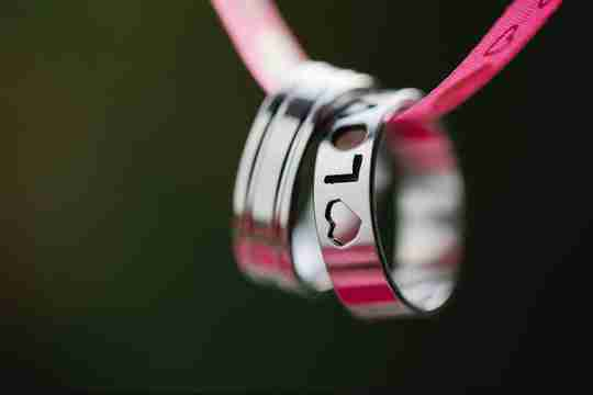 Simple pride rings with love engraving