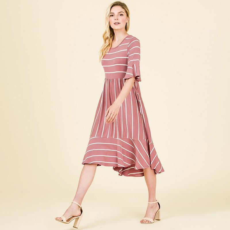 Suzy Stripe Ruffle Midi Dress Mauve